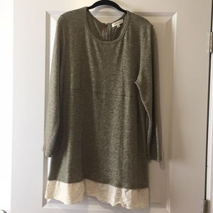 Umgee Olive Knit Tunic with Eyelet Trim